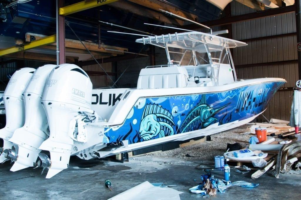 cool illustration boat vehicle vinyl wrap
