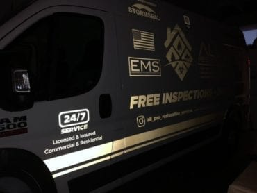 Reflective Decals in Nighttime Partial Vehicle Wrap at Night by Fantasea Media