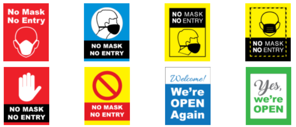 window clings covid no mask no entry we're open signs