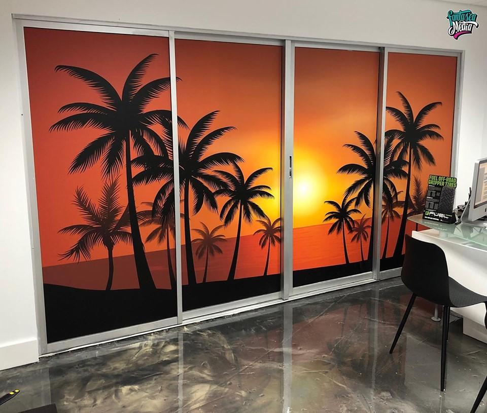 office partition door wrap indoor office lobby