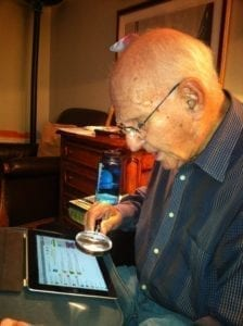 Elderly Attempting to Use Tablet