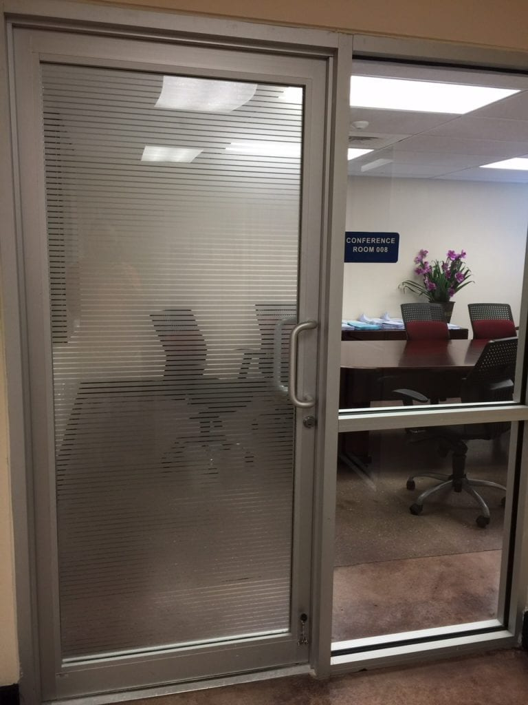 Frosted Window Decals Vinyl Wrap Stickers Increase Privacy in Lobbies Conference Room Offices Miami Florida
