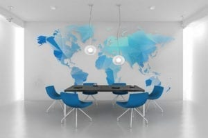 World Map Wall Mural Vinyl Decal Miami Business Offices