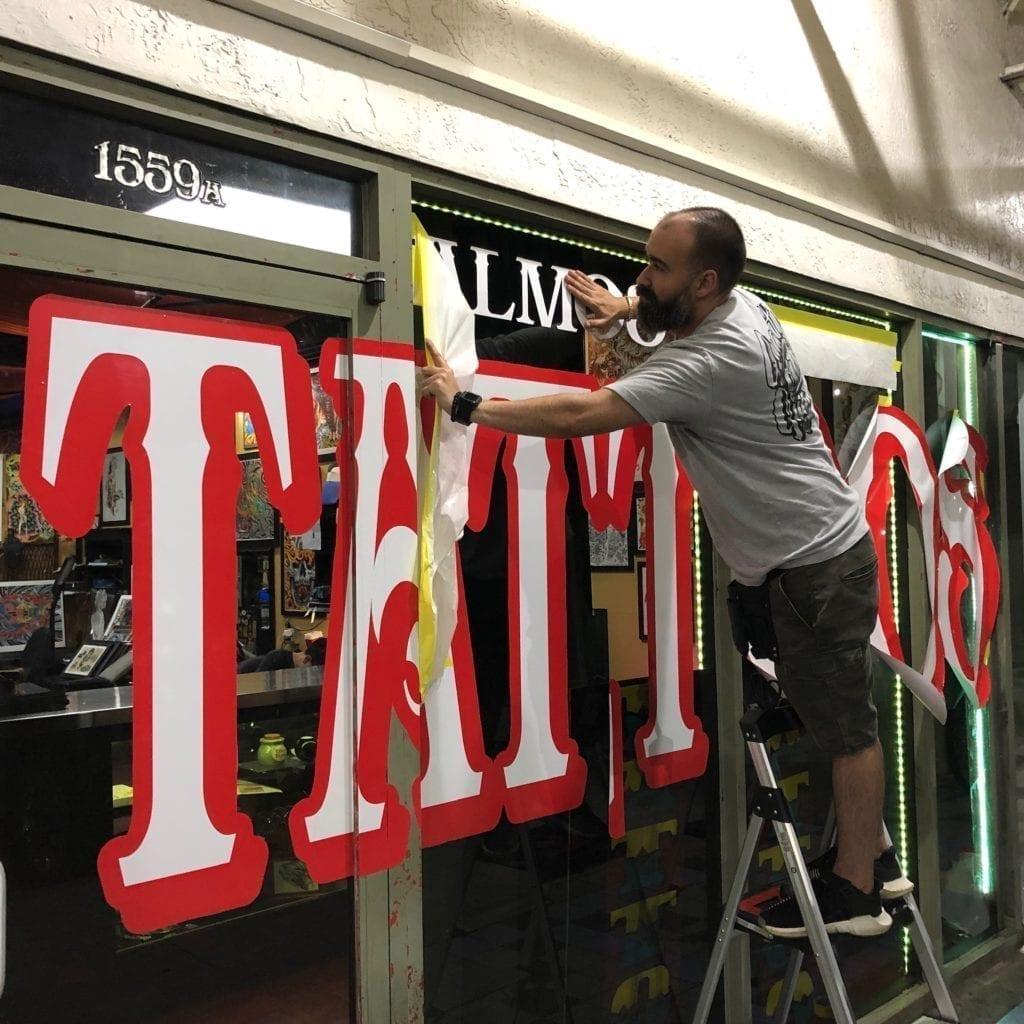 storefront advertising miami window graphics glass stickers decals vinyl wraps fantasea media