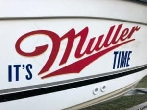Custom Graphic Lettering Decals on side of boat that says It's Muller Time by Fantasea Media
