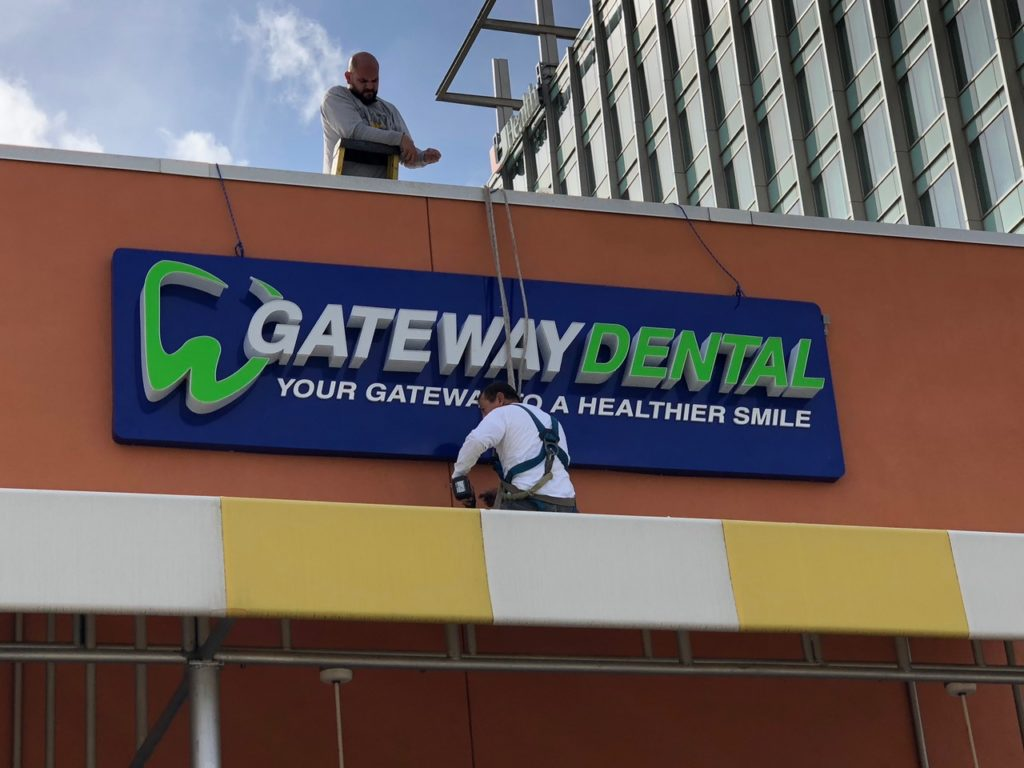 gateway dental outdoor storefront signage installation by fantasea media
