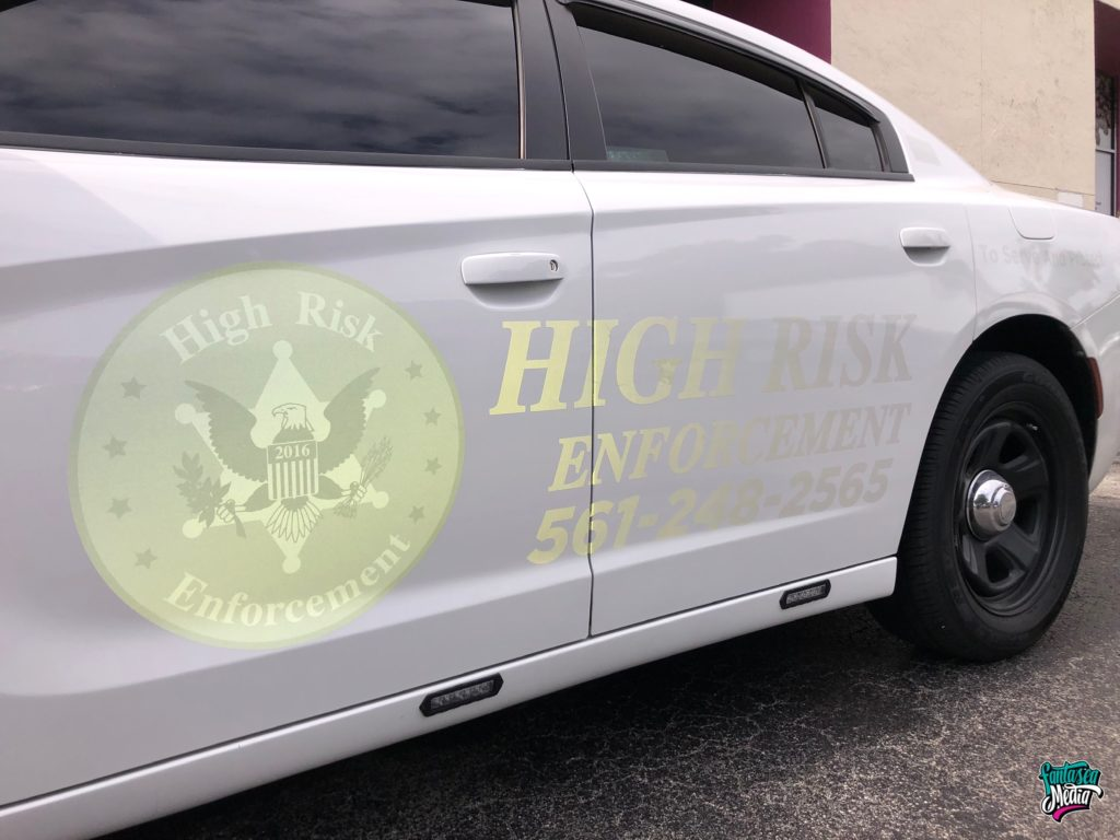 High Risk Enforcement Reflective White Decals on White Vehicle by Fantasea Media