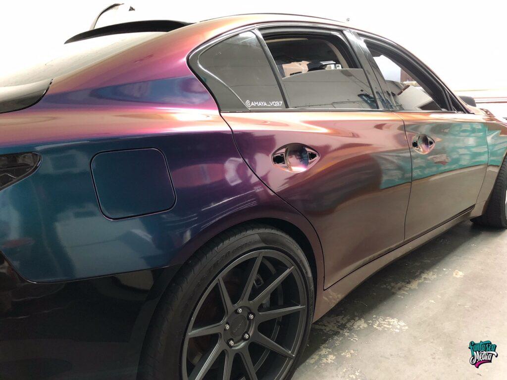 rear view of color change vehicle wraps coloflow colorflow vehicle wrap fantasea media miami