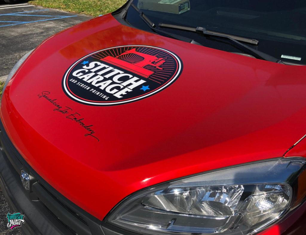 stitch garage hood wrap by fantasea media