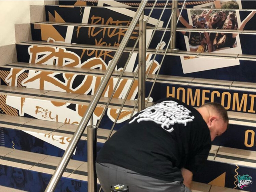 fantasea media wrapping stairs for fiu college university wraps