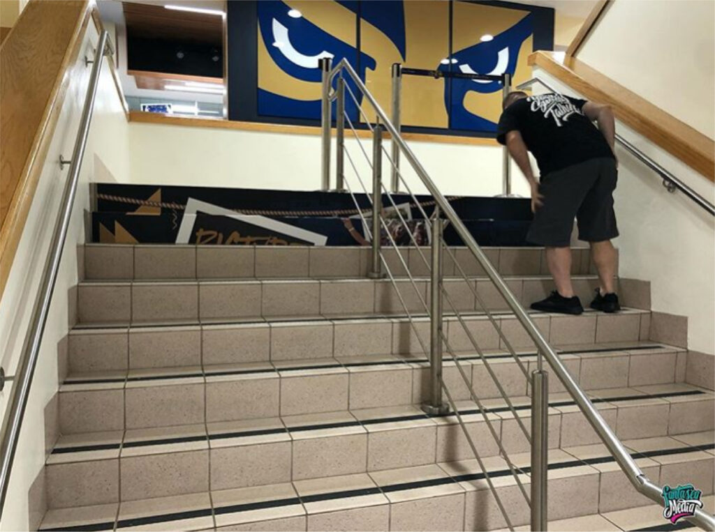 fantasea media wrapping stairs for florida international university panther fiu branding vinyl wraps miami