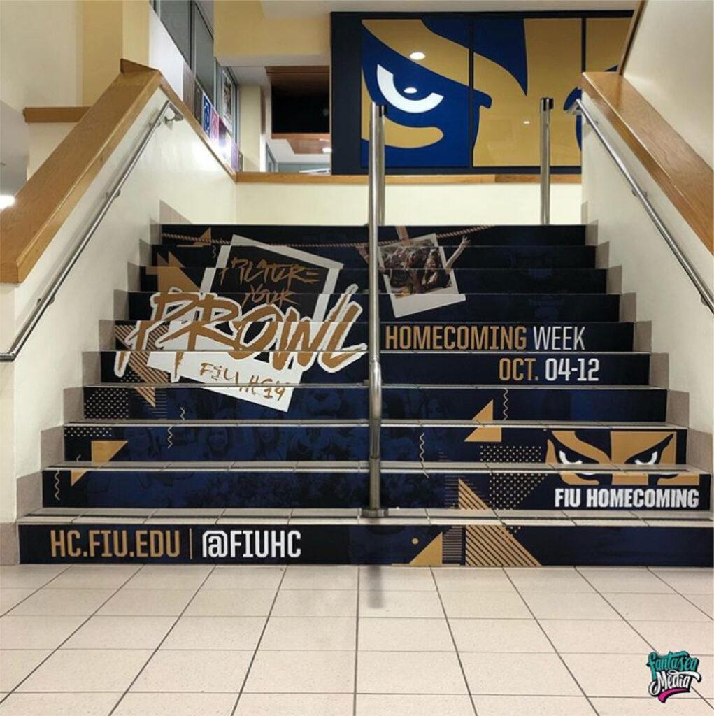 florida international university stairs steps stairwell panther branding fiu educational wraps school spirit college vinyl wraps by fantasea media