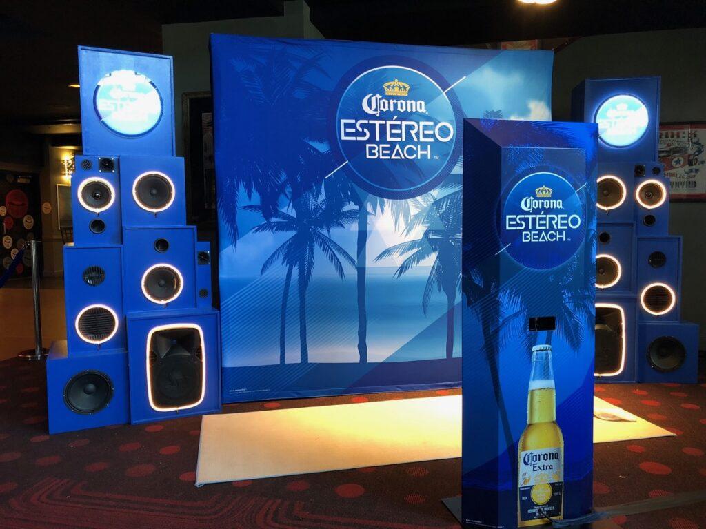 stereo wrap podium vinyl wraps wrapped photoshoot background photodrop event corona estereo beach wrapping by fantasea media in miami florida