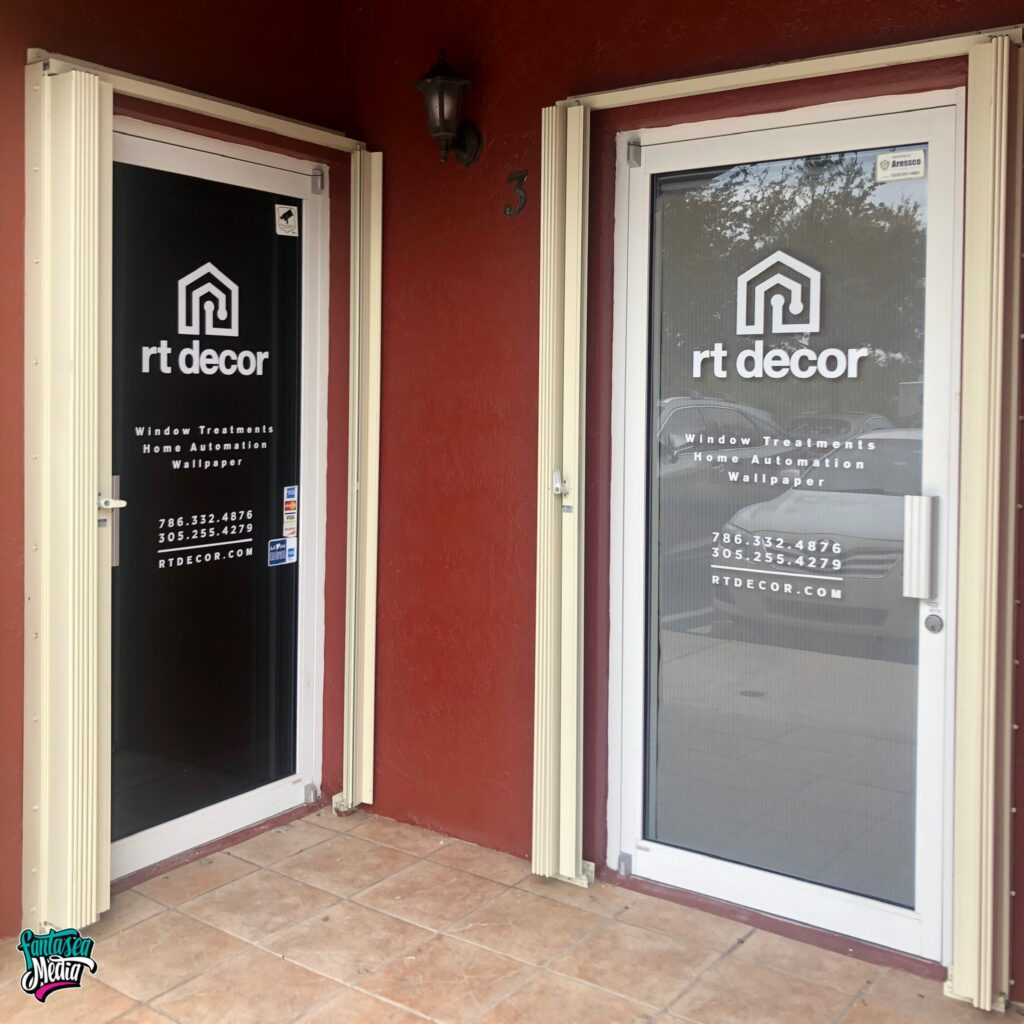 rt decor door decals storefront easy miami signage fantasea media